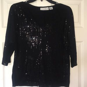 Sag Harbor black sequined long sleeve SMALL🌞